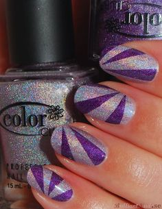 "Holo Tape Mani using Color Club ""Fashion Addict"" & ""Wild At Heart"" by BrilliantNail.se"