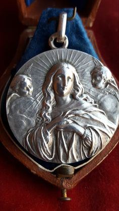 Spanish Hallmarked Silver Blessed Mother Mary Medal Pendant Blessed Virgin Mary Catholic Jewelry Purisima Art Nouveau Cherubs Angels by PinyolBoiVintage on Etsy