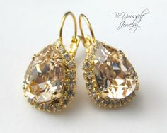 Champagne Peach Teardrop Earrings Swarovski by BeYourselfJewelry, $49.99