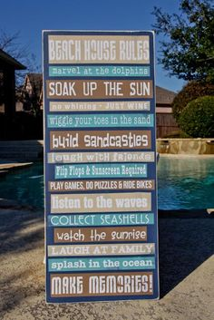 Custom, Personalized Beach House Rules, Pool Rules 15x36 - Write your own rules - Family Name by RumpelstreetBoutique on Etsy https://www.etsy.com/listing/287337223/custom-personalized-beach-house-rules