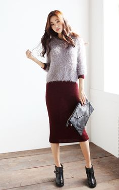 Fuzzy sweater over maxi
