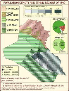 Population density and ethnic regions of Iraq, 2003.