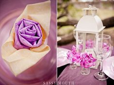 Purple Orchid and Cream Wedding Table Decor Romantic Fairy Tale Rapunzel Wedding Décor by Country Girl Collections