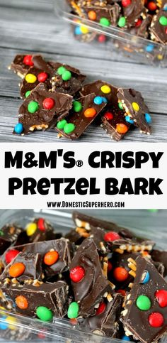 M&M's® Crispy Pretzel Bark - Delicious milk chocolate mixed with salty pretzels and M&M's® Crispy snacks - easy and delicious! #CrispyisBack #ad