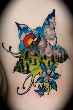 colorado tattoo, colorado mountains and mountain tattoos. Columbine Tattoo, Columbine Flower, Great Tattoos, Beautiful Tattoos, Body Art Tattoos, Tatoos, Awesome Tattoos, Colorado Tattoo, State Tattoos