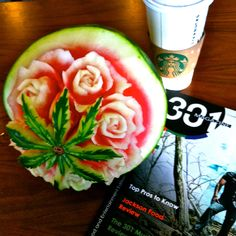 A freehand watermelon carving by Carl Jones.  Teaching classes throughout the U.S.