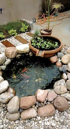 40 Awesome Garden Waterfall Ideas - Many people today spend more and more time in their homes and realise the importance of making their surroundings beautiful and peaceful. In this aspe. Small Backyard Ponds, Outdoor Ponds, Backyard Water Feature, Small Ponds, Small Garden Waterfalls, Small Fish Pond, Outdoor Fountains, Water Fountains, Garden Fountains