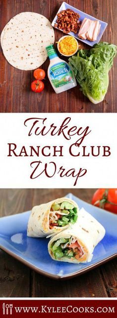 delicious and easy to make turkey ranch club wraps are the perfect take-along when heading out and about!These delicious and easy to make turkey ranch club wraps are the perfect take-along when heading out and about! Lunch Snacks, Clean Eating Snacks, Lunch Recipes, Gourmet Recipes, Healthy Snacks, Healthy Eating, Cooking Recipes, Healthy Recipes, Healthy Lunch Wraps
