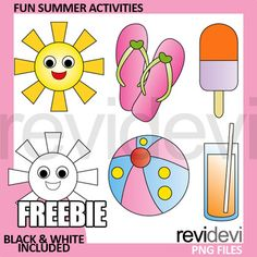 Summer Activities Clip Art Free. Fun clipart collection for this summer! Happy smile sun, flip flop, beach ball, ice cream, and drink.YOUR RATING and COMMENT is highly appreciated.If you like this set, please SHARE this post, or PIN on your boards.Get full collection of summer clipart here.