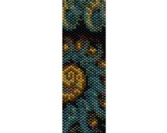 PATTERN ONLY. Create this beautiful peyote cuff bracelet.  Delica Beads Even count with 37 bead colors 22 bead columns by 100 bead rows. 1 1/8 (28mm) wide by 7 (178mm) long.  Pattern includes a pattern preview, full bead legend, colored bead graph, complete word graph and directions on how to attach sliding bar clasp.  Note: I choose the color palette that looks best on the computer pattern. You may prefer to choose a different color palette.