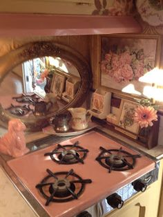 Mirror backsplash  Cherish Home Everyday: Lipstick Gypsy's Vintage Trailer! Interior Paint, Interior Design, Iron, Painting, Nest Design, Interior Designing, Home Interior Design, Apartment Design, Design Interiors