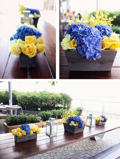 Blue and Yellow Flowers for a student going to Emory College by LMP