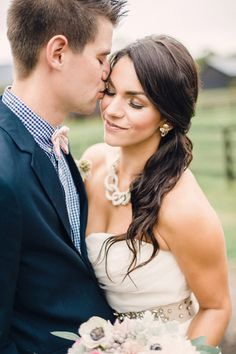 A beautiful outdoor mix-and-match southern wedding! Bridal Hair Inspiration, Engagement Photo Inspiration, Wedding Photography Inspiration, Veil Hairstyles, Wedding Hairstyles, Bride Groom Photos, Multicultural Wedding, Bridal Looks, Bridal Style