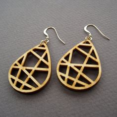 Grid Drop, Laser Cut Wood Earrings, Geometric Jewelry