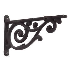 "Dulcet Cast Iron Shelf Bracket - 7-5/8"" - Black Powder Coat"
