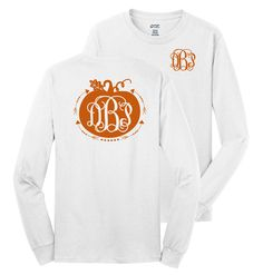 PERSONALIZED FULL BACK PUMPKIN ARROW LONG SLEEVE SHIRT - DDP Monograms & Gifts
