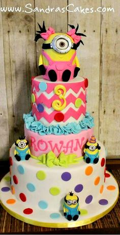 girl's minion birthday cake by Sandra's Cakes Girly Cakes, Fancy Cakes, Cute Cakes, Crazy Cakes, Despicable Me Cake, Minion Cakes, Girl Minion Cake, Pastel Minion, Cake Pops