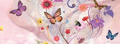 Spring - Butterflies & Flowers - Free Facebook Covers, Facebook Timeline Profile Covers