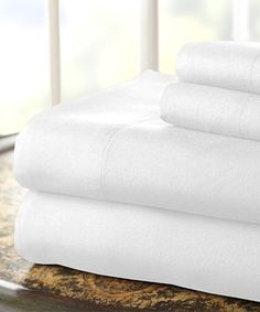 Another great find on #zulily! White Microfiber Sheet Set #zulilyfinds