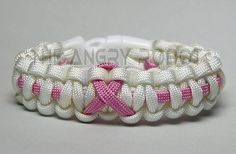 SLIM Paracord Bracelet - Thin Line Ribbon - White with Pink - White Buckle - Breast Cancer Awareness