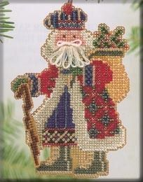 Mill Hill Mt McKinley Santa - Beaded Cross Stitch Kit. From the 2004 Mountaineer Santas Collection. Kit includes Beads, perforated paper, floss, needles, chart