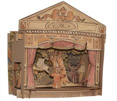 This paper toy theatre is great as a beautiful decorative piece for all ages or a wonderful toy for those children who can treat it with care and play with it delicately. It comes flat packed. Simply cut out and follow instructions to slot it together.  Hand Made in Melbourne. Printed on 100% recycled card. Toy Theatre, Theater, Old Things, Things To Come, Paper Toys, Paper Cutting, Dollhouse Miniatures, Tea Lights, Paper Art
