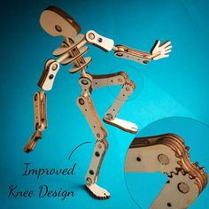 New knee design with greater range of movement. New knee design with greater range of movement. Laser Cutter Projects, Cnc Projects, Cool Art Projects, Woodworking Projects, Laser Cnc, 3d Cnc, Impression 3d, 3d Puzzel, Marionette