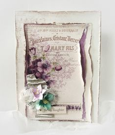 A vintage card with anemone by Minna, featuring the My Precious Daughter collection