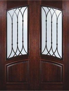 Slab House Double Door 96 Wood Mahogany Warwick Arch Lite mediterranean-front-doors
