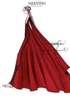 Sketch of the Valentino Haute Couture dress auctioned during the Cash & Rocket Charity Gala Dinner on Thursday May 14th 2015.