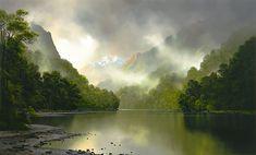 After Rain - Lake Manapouri, New Zealand artist Tim Wilson. Summer Landscape, Landscape Art, Landscape Paintings, Wilson Art, New Zealand Landscape, Different Forms Of Art, New Zealand Art, Nz Art, Frederic