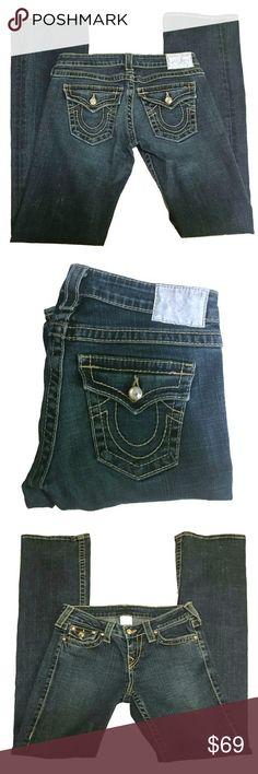 """True Religion Straight Leg Dark Wash Jeans True Religion Straight Leg Dark WashJeans Size 26, 1 99% Cotton, 1% Elastine Dark  Approx Measurements: Inseam- 33.25"""", Rise- 7"""" True Religion Jeans Straight Leg"""