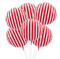 """Set 12 RED & WHITE STRIPED Mylar Balloons 18"""" Candy Land Carnival Stripes Retro Circus Birthday Party Parade Chic 1st Cake Smash Photo Prop"""