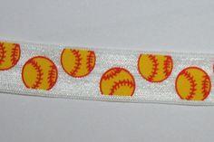 4 yards Fastpitch SOFTBALL Softballs foldover elastic FOE DIY Hair Ties by LaceAndTrims, $6.00