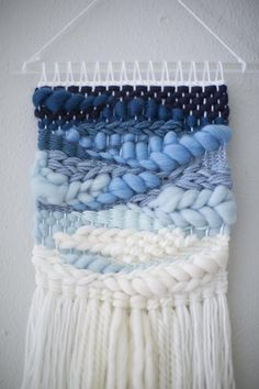 Blue Ombre wall hanging Weave MTO woven wall hanging tapestry handwoven wall art b Textured wall weaving create a lovely effect. In this tutorial, you will learn 5 simple and easy ways to add texture to your DIY wall weaving. Weaving Wall Hanging, Weaving Art, Tapestry Weaving, Tapestry Wall Hanging, Hand Weaving, Wall Hangings, Loom Weaving Projects, Macrame Wall Hanging Diy, Weaving Textiles