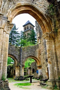 The Abbey d'Orval, famous in Belgium for both its Trappist beers and its cheeses (south Belgium, near Luxembourg)