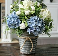 Beautiful blue and cream-white hydrangea centerpiece - . Beautiful blue and cream-white hydrangea centerpiece - # Creamy-white # Hydrangea centerpiece . White Hydrangea Centerpieces, Silk Floral Arrangements, White Hydrangeas, Table Arrangements, Flower Arrangements Hydrangeas, Country Flower Arrangements, Blue Hydrangea Wedding, Wedding Arrangements, Silk Flowers