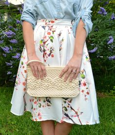 Awesome tips for styling Chambray!   (Floral Skirt + Chambray + Woven Clutch! Love this and the skirt costs under $20!)