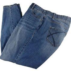 e5ca77befe3 Lane Bryant Jeans Womens Size 18 Reg Blue Skinny Medium Wash Distressed  Straight  LaneBryant Jean
