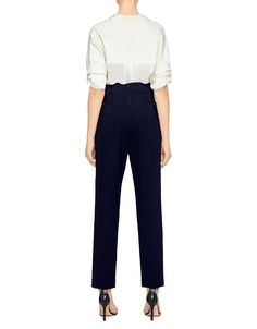 Tibi | Paperbag Tapered Pants in Navy | Straight Leg - IFCHIC