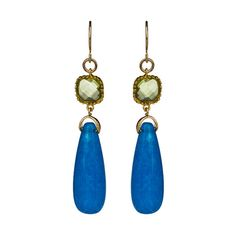 Alvina Abramova Madison Earrings in Blue Jade ($50) ❤ liked on Polyvore