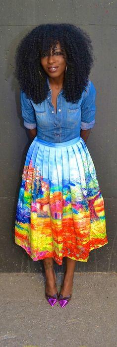 Fitted Denim Shirt + Scenic Print Pleated Midi Skirt -   Style Pantry http://globalcoutureblog.net
