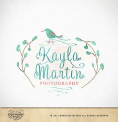 Logo Design whimsical watercolor tree and bird design for photographer, photography, small business via Etsy