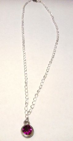 POLY CHROME CRYSTAL PINK PENDANT NECKLACE $6.50