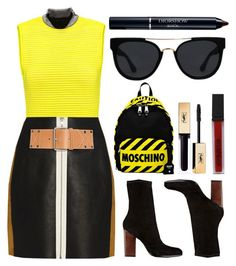 """CAUTION"" by shanelala ❤ liked on Polyvore featuring Alexander Wang, Moschino, Quay, Smashbox and Christian Dior"