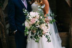 Oversized Pink Peony, Roses & Eucalyptus Bouquet | Albert Palmer Photography | Blush Wedding at Almonry Barn Somerset