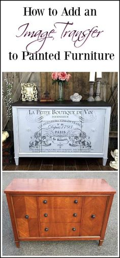 French image transfer on painted vintage buffet Painted furniture with an added image transfer is sure to wow and image transfers are so easy to do. See how in this painted vintage buffet with french image transfer Refurbished Furniture, Paint Furniture, Repurposed Furniture, Furniture Projects, Rustic Furniture, Furniture Makeover, Vintage Furniture, Cool Furniture, Furniture Design