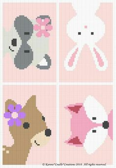 Most current Screen Crochet baby girl afghan Tips Crochet Patterns – Woodland Animal Friends Baby Girl Graph/Chart Afghan Pattern Crochet Afghans, Motifs Afghans, Crochet Stitches Patterns, Crochet Chart, Baby Patterns, Stitch Patterns, Tunisian Crochet, Crocheting Patterns, Crochet Blankets