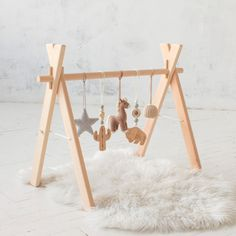 Baby gym and toys Wooden Foldable Play gym /& crochet toys set Bunny Handmade
