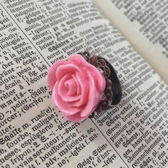 Vintage Inspired Pink Rose Statement Ring // Adjustable Copper Ring // Romantic Style by MonicaRudyJewelry